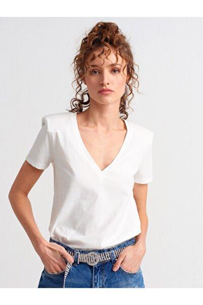 3505 V Yaka Vatkalı Penye Bluz-ekru
