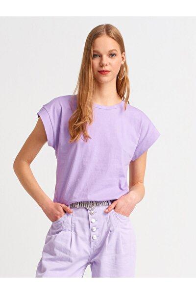 Kadın Mor Bisiklet Yaka Basic T- Shirt 3504