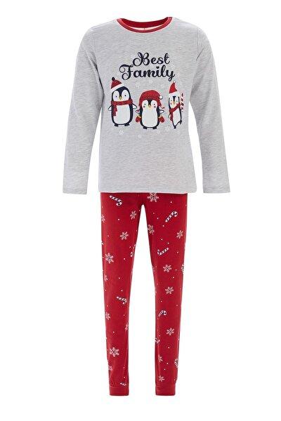 Kız Çocuk Gri Yılbaşı Temalı Pijama Takımı