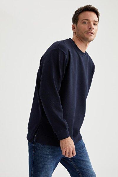 Erkek Lacivert Oversize Fit Bisiklet Yaka Basic Sweatshirt
