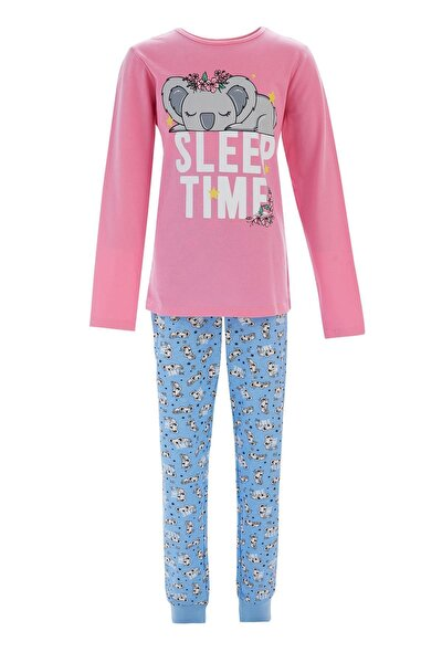 Kız Çocuk Pembe Koala Baskılı Pijama Takımı