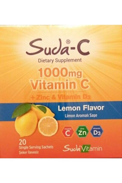Suda Vitamin C 1000 Mg+ Zinc Ve Vitamin D3 20 Şase Lemon Flavor