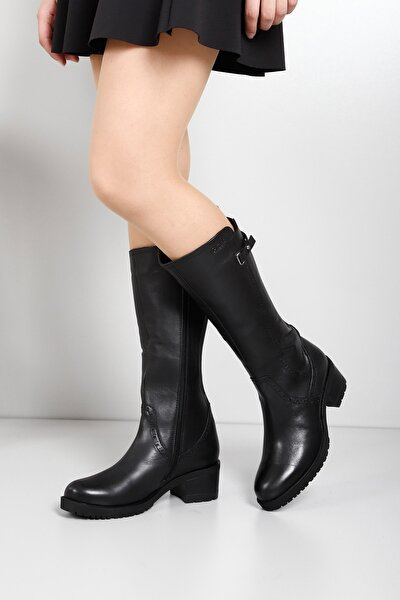 Gön Hakiki Deri Siyah Topuklu Tokalı Fermuarlı Günlük Kadın Çizme 44590