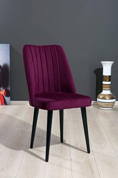 Polo Sandalye Mor Düz Renk Kumaş - Ahşap Siyah Ayaklı