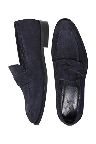 Erkek Lacivert  Deri Süet Loafer Ayakkabı
