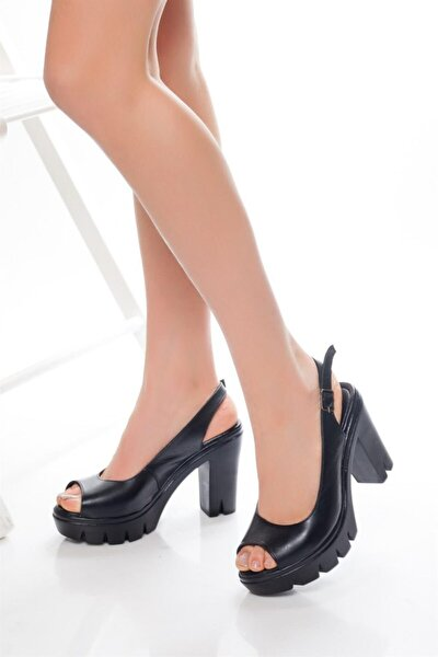 Hakiki Deri Siyah Kadın Platform Topuklu Deri Sandalet Dp26-0300