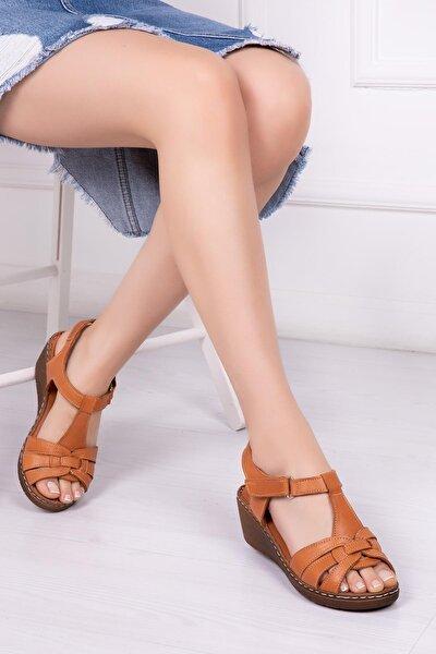 Hakiki Deri Taba Kadın Dolgu Topuklu Deri Sandalet Dp16-0501