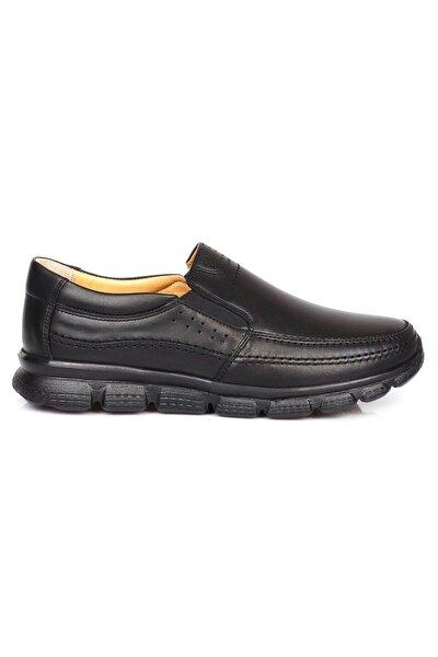 Erkek Siyah Ortopedik Iç Dış Komple Deri Ultra Hafif Günlük  Ayakkabı