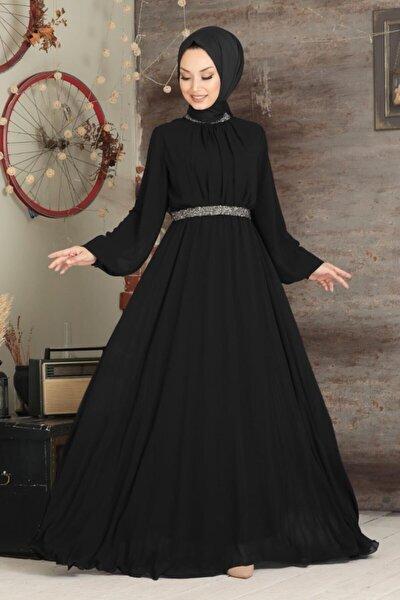 Tesettürlü Abiye Elbise - Balon Kol Siyah Tesettür Abiye Elbise 5339s