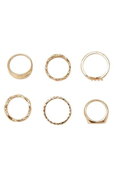 Kadın Sarı 6'Lı Düğüm Yüzük Seti 00783006