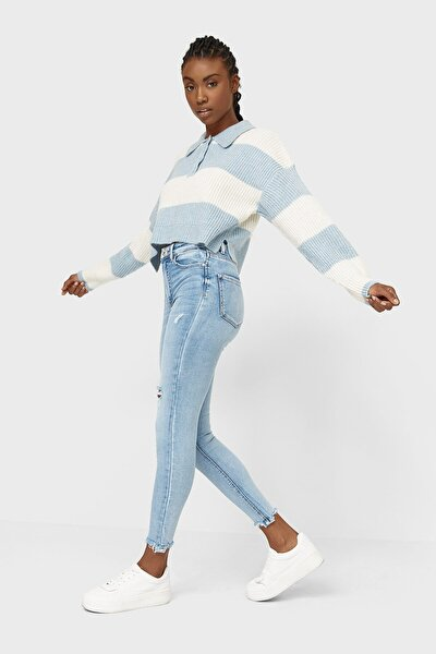 Kadın Açık Mavi Yüksek Bel Skinny Jean 01400500