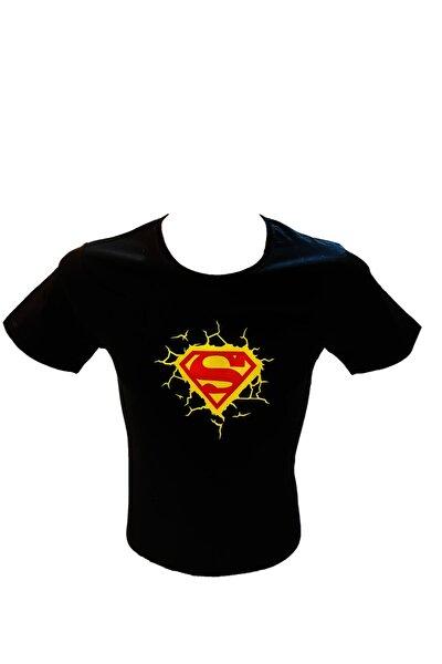 Kadın Siyah Süperman Baskılı T-shirt