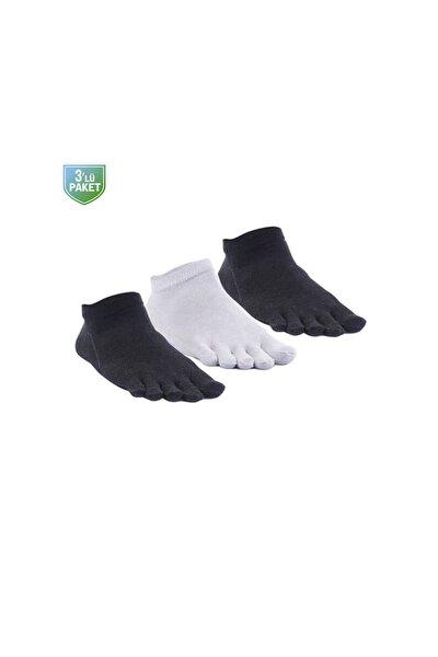 Mantar Önleyici Parmaklı Patik Kadın Gümüş Çorap 3'lü Paket