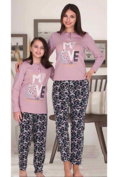 Anne Kız Kombin Pembe Pijama Takım
