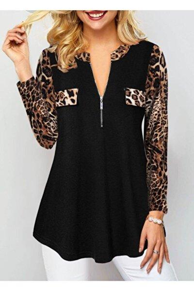 Kadın Siyah Leopar Detay Viskon Kumaş Fermuarlı Bluz