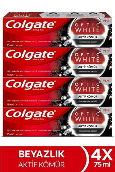 Optic White Aktif Kömür Yumuşak Mineral Temizliği Beyazlatıcı Diş Macunu 4 X 75 Ml