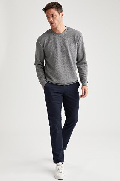 Erkek Lacivert Regular Fit Basic Pamuklu Chino Pantolon