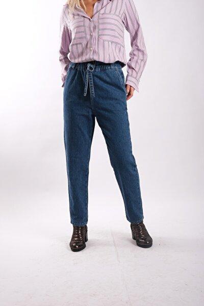Kadın Mavi Beli Bağlamalı Jean Pantolon