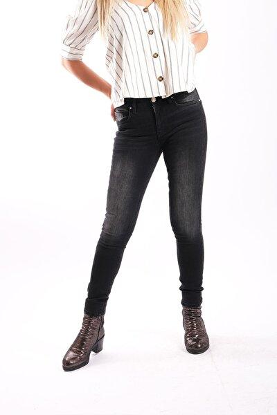 Kadın Siyah  Slim Taşlamalı Jean