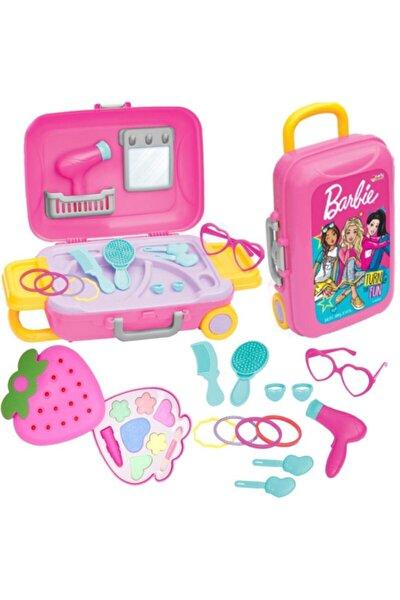 Oyuncak Barbie Güzellik Set Bavulum + Sürülebilir Kız Çocuk Çilek Makyaj Seti Depomiks