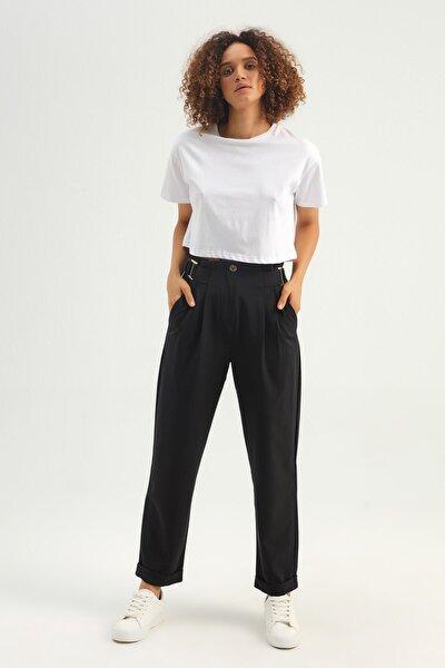 Kadın Beyaz Basic Crop Tişört