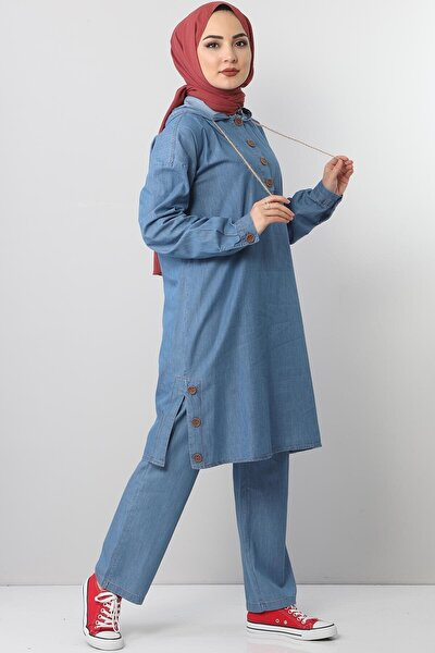 Kadın Mavi Yandan Yırtmaçlı Kot Alt-Üst Takım