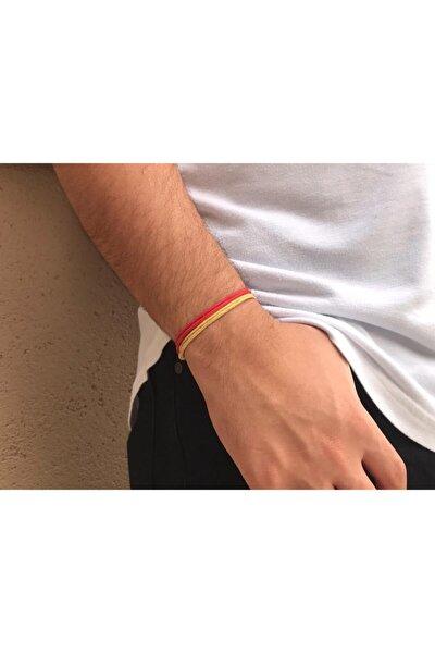 Unisex Sarı Kırmızı Taraftar Bilekliği  2li