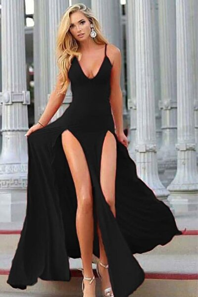 Askılı Çift Yırtmaçlı Uzun Elbise