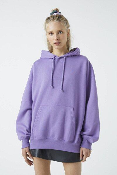 Kadın Mor Basic Oversize Kapüşonlu Sweatshirt