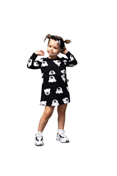 Kız Çocuk Siyah Yuvarlak Yaka Hayvan Figürlü Diz Üstü Elbise