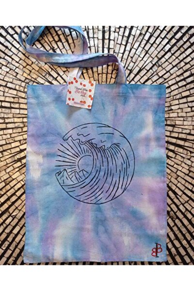 Kadın Mavi Sörf Dalgası Desenli Çanta