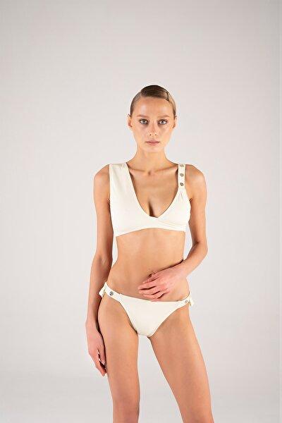Kadın Krem Omuzdan Askılı Bikini Takım