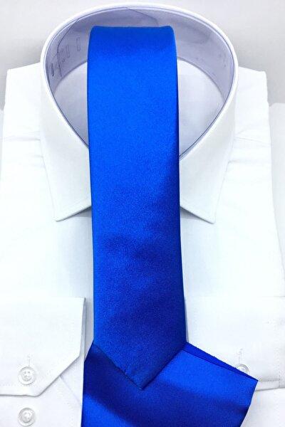 Erkek Mavi 5.5 cm Mendilli Saten Kravat