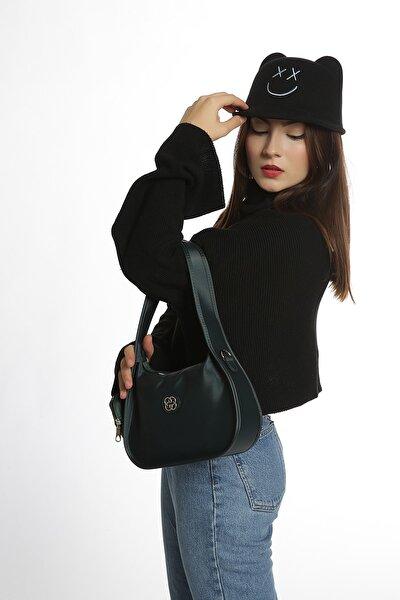 Kadın Petrol Caynda Saten Baget Çanta