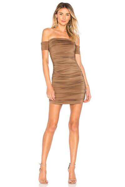Kadın Bej Büzgülü Drapeli Elbise