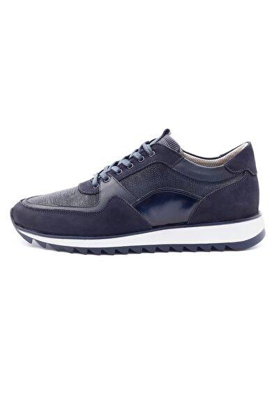 Erkek Lacivert Hakiki Deri Sneaker Ayakkabı