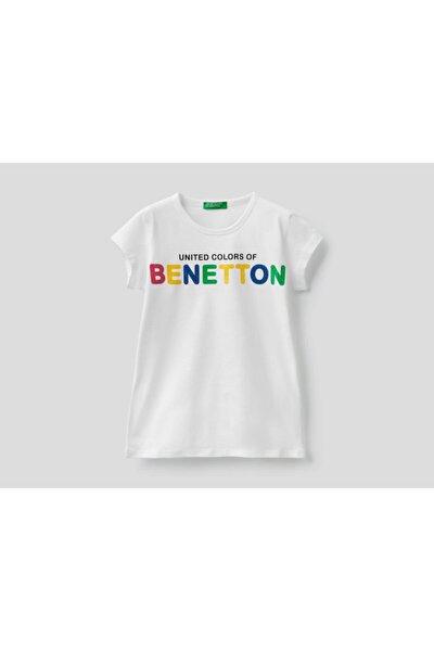 Kız Çocuk Beyaz Yazı Baskılı T-Shirt