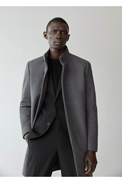 Erkek Gri Yün Palto