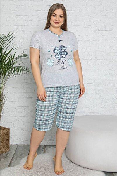 Kadın Gri Melanj Yonca Baskılı Kısa Kol Büyük Beden Pijama Takımı