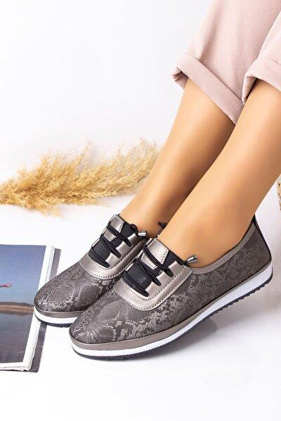 Ortopedik Günlük Platin Desenlİ Kadın  Ayakkabı