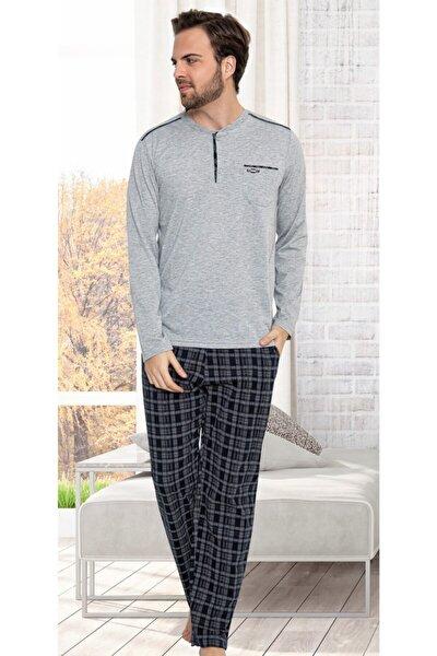 Erkek Gri Uzun Kollu Altı Ekose Pijama Takımı 401