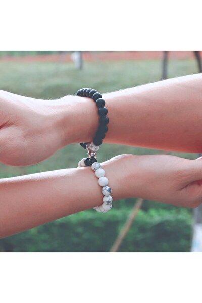 Havlit Onix Doğal Taş Mıknatıslı Sevgili Bilekliği Çift Kombin