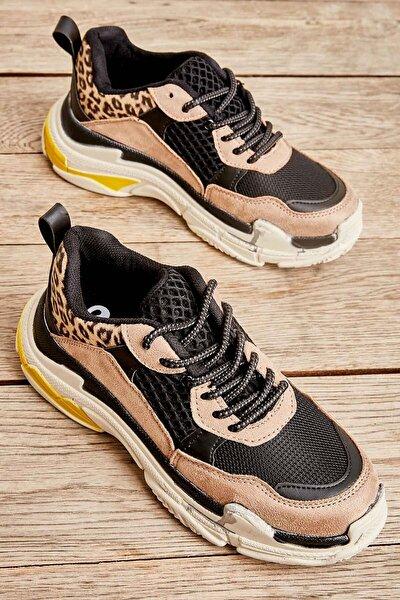Siyah Leopar Süet Kadın Sneaker K01591007222