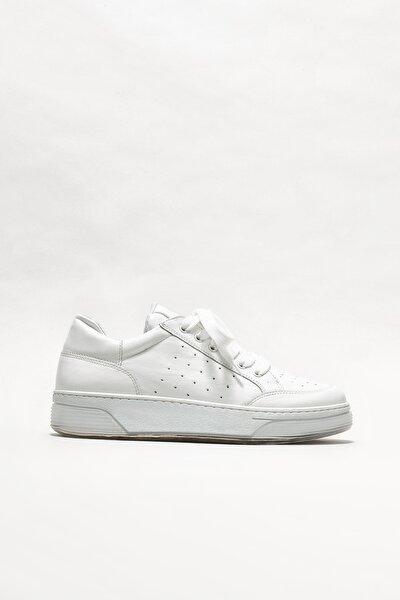 Beyaz Deri Kadın Spor Ayakkabı