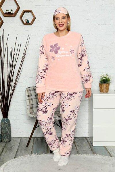Kadın Büyük Beden Kışlık Polar Peluş Pijama Takımı