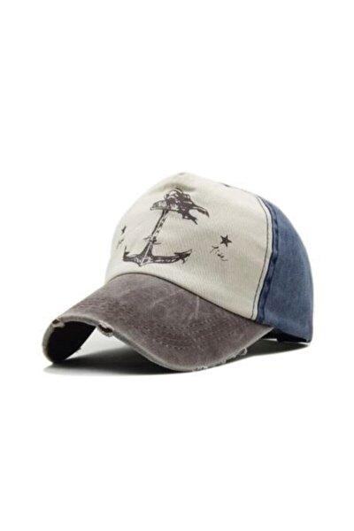 Çapalı Eskitme Erkek Kadın Balıkçı Denizci Şapka Cap Şapka Lacivert