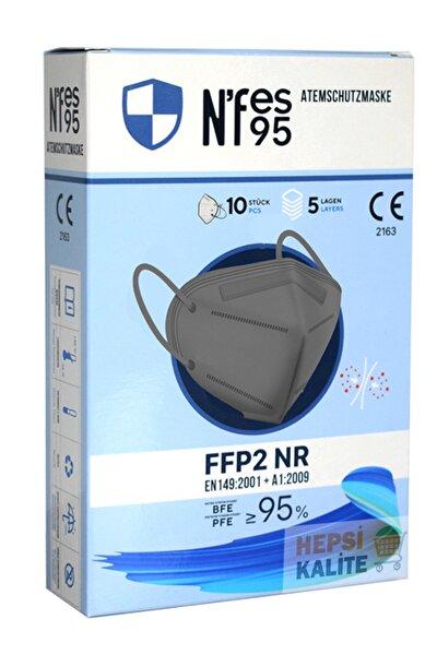 Ffp2 Maske Ventilsiz Solunum Maskesi Maske Meltblown 10 Adet - Gri - Kutulu