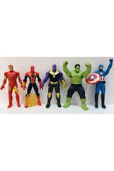 Thanos Hulk Spiderman 16 cm Işıklı Figür Oyuncak 5'li