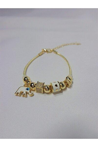 Kadın Altın Kaplama Çelik Beyaz Filli Pandora Bileklik
