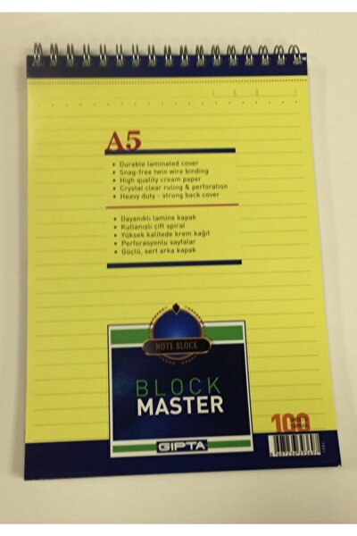 Block Master Spiralli Karton Kapak Blok A5 100 Yaprak - Çizgili